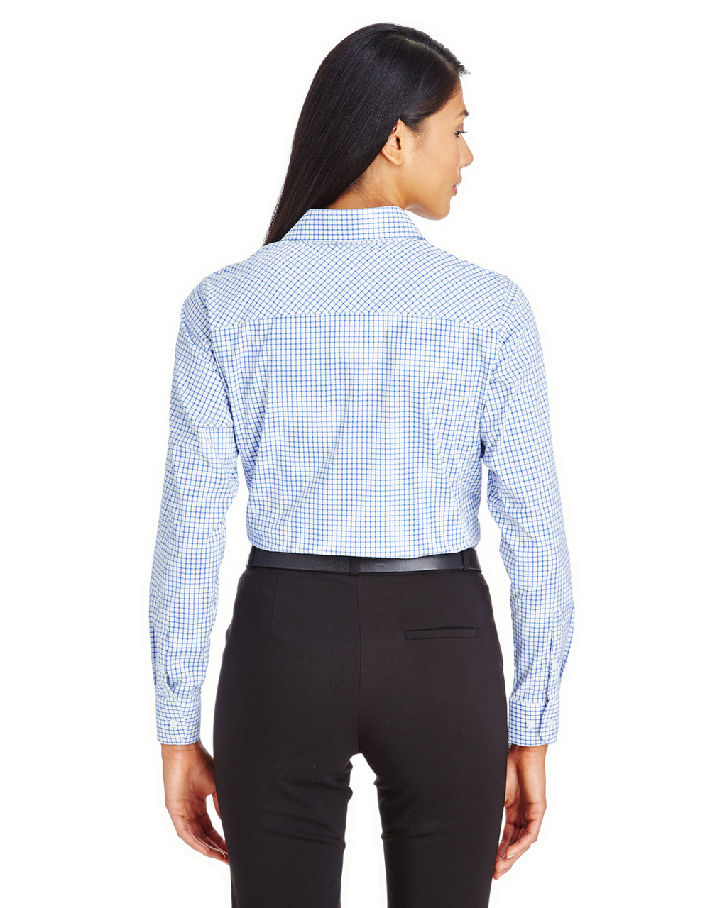 French Blue/White - DG540W Devon & Jones Ladies' CrownLux Performance™ Micro Windowpane Shirt