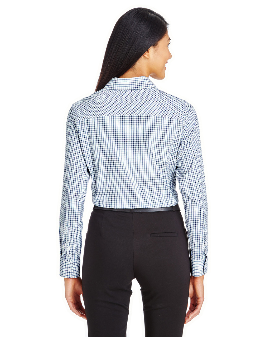 Navy/White - DG540W Devon & Jones Ladies' CrownLux Performance™ Micro Windowpane Shirt
