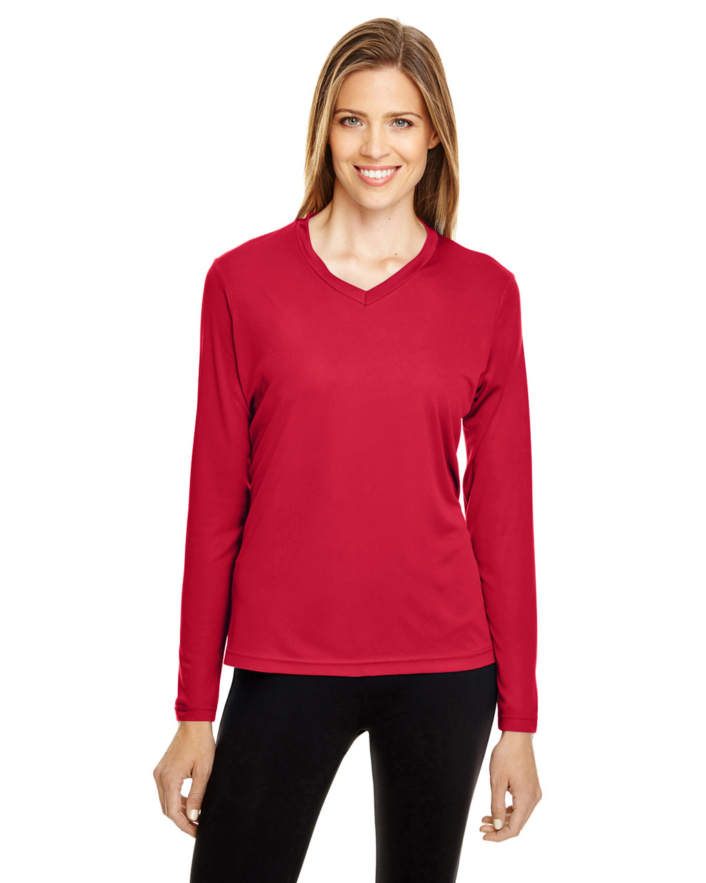 Sport Red - TT11WL Team 365 Ladies' Zone Performance Long-Sleeve T-Shirt
