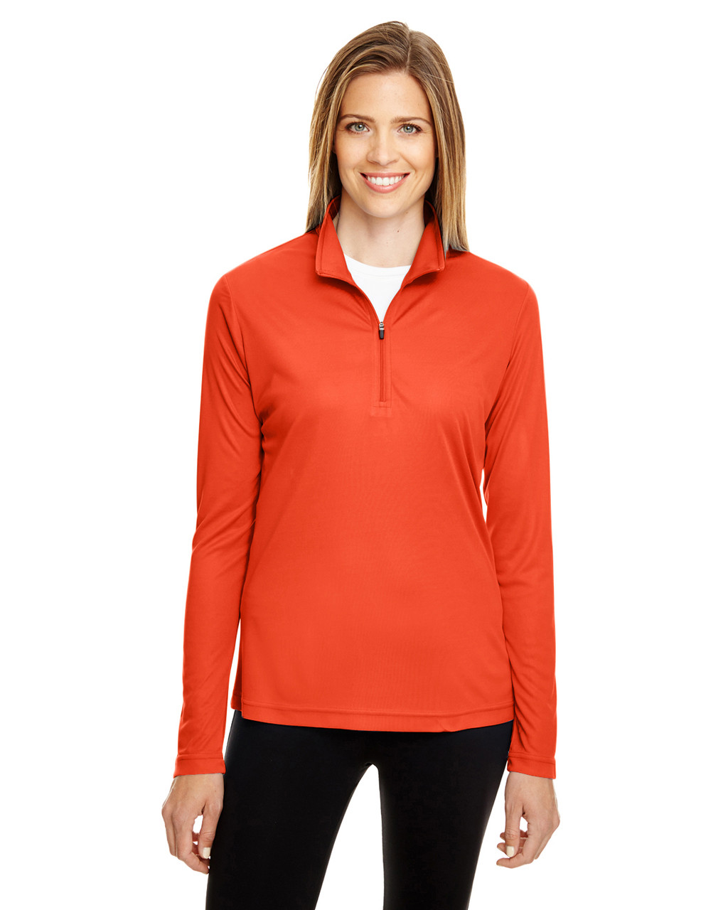 Sport Orange - TT31W Team 365 Ladies' Zone Performance Quarter-Zip Shirt