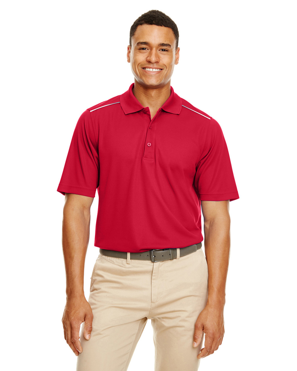 Classic Red - 88181R Ash City - Core 365 Men's Radiant Performance Piqué Polo Shirt with Reflective Piping | Blankclothing.ca