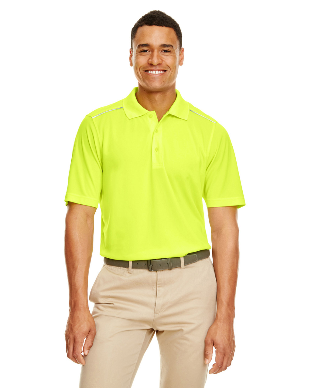 Safety Yellow - 88181R Ash City - Core 365 Men's Radiant Performance Piqué Polo Shirt with Reflective Piping | Blankclothing.ca