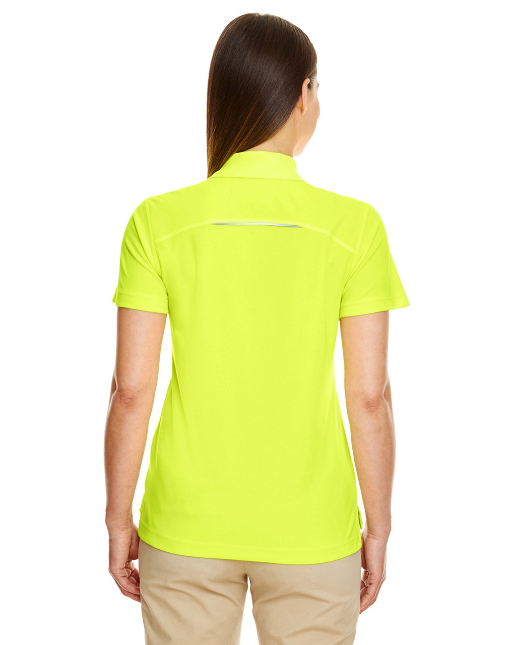 Safety Yellow - Back 78181R Ash City - Core 365 Ladies' Radiant Performance Piqué Polo Shirt with Reflective Piping | Blankclothing.ca