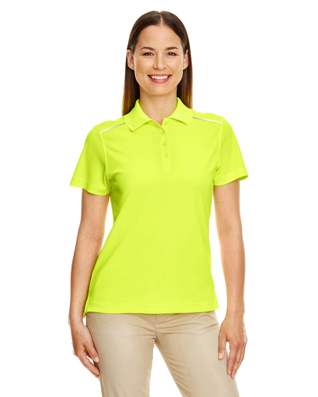 Safety Yellow - 78181R Ash City - Core 365 Ladies' Radiant Performance Piqué Polo Shirt with Reflective Piping | Blankclothing.ca