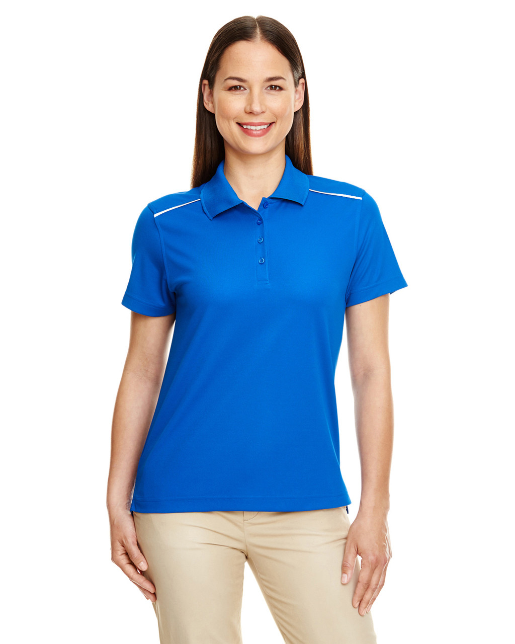 True Royal - 78181R Ash City - Core 365 Ladies' Radiant Performance Piqué Polo Shirt with Reflective Piping | Blankclothing.ca