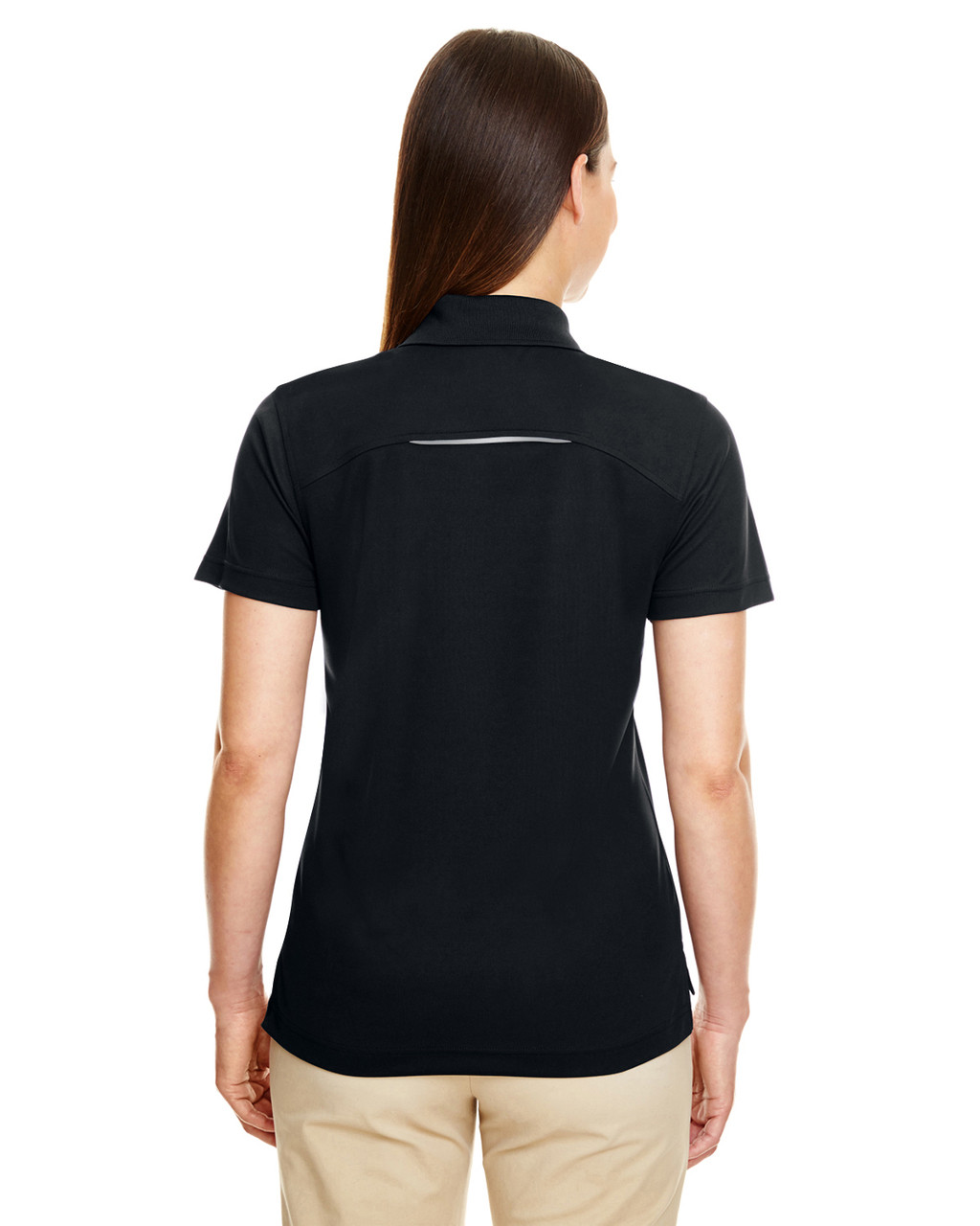 Black - Back 78181R Ash City - Core 365 Ladies' Radiant Performance Piqué Polo Shirt with Reflective Piping | Blankclothing.ca
