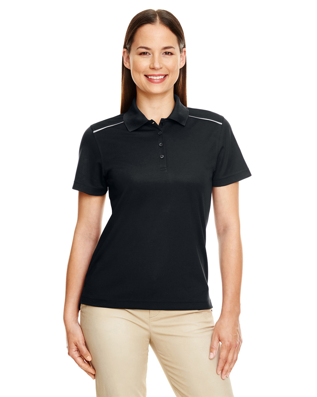 Black - 78181R Ash City - Core 365 Ladies' Radiant Performance Piqué Polo Shirt with Reflective Piping | Blankclothing.ca