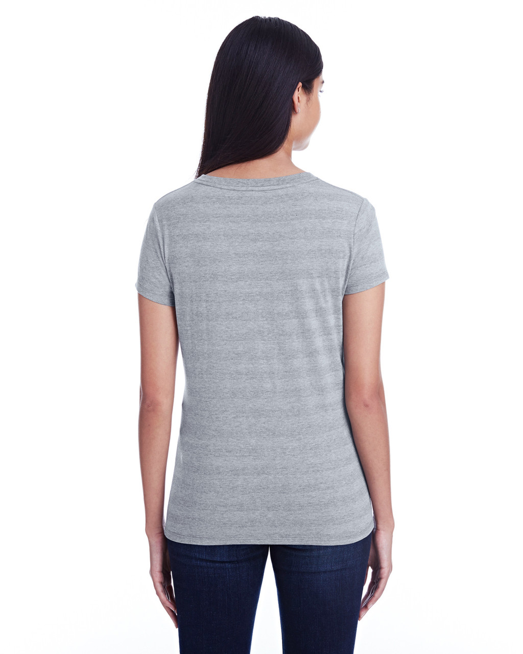 Heather Grey Invisible Stripes - Back, 252RV Threadfast Ladies' Invisible Stripe V-Neck T-Shirt | Blankclothing.ca
