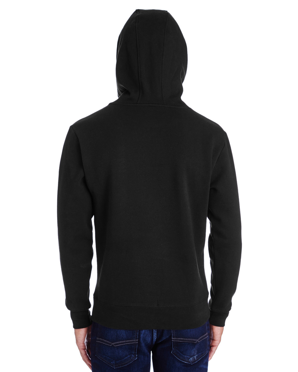 Black -Back,  322H Threadfast Unisex Precision Fleece Hoodie | Blankclothing.ca