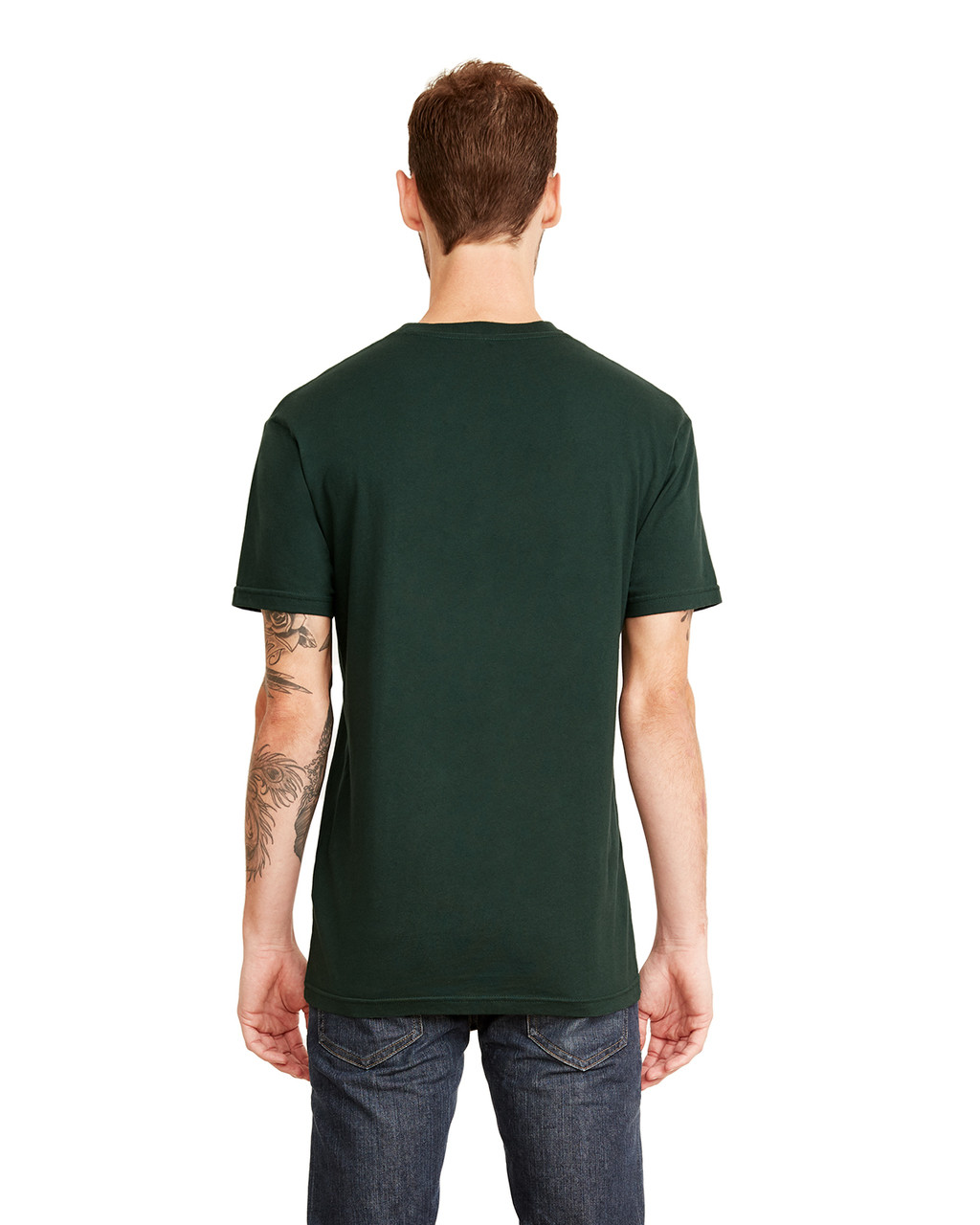 Forest Green, Back - 3605 Next Level Unisex Pocket Crew T-Shirt | Blankclothing.ca