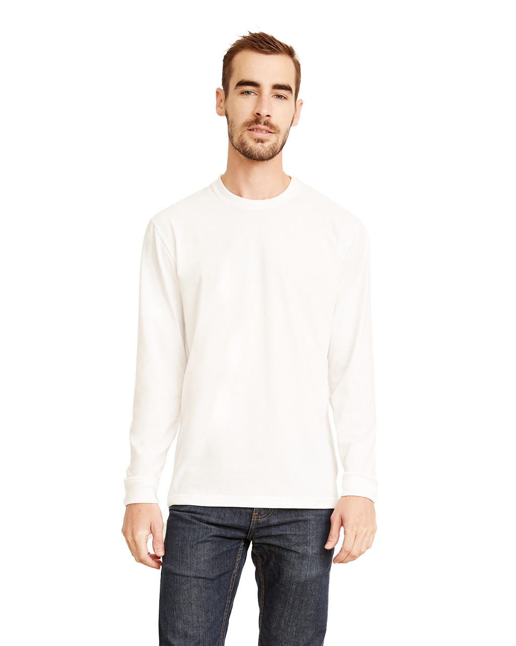 White - 6411 Next Level Unisex Sueded Long-Sleeve Crew Shirt | Blankclothing.ca