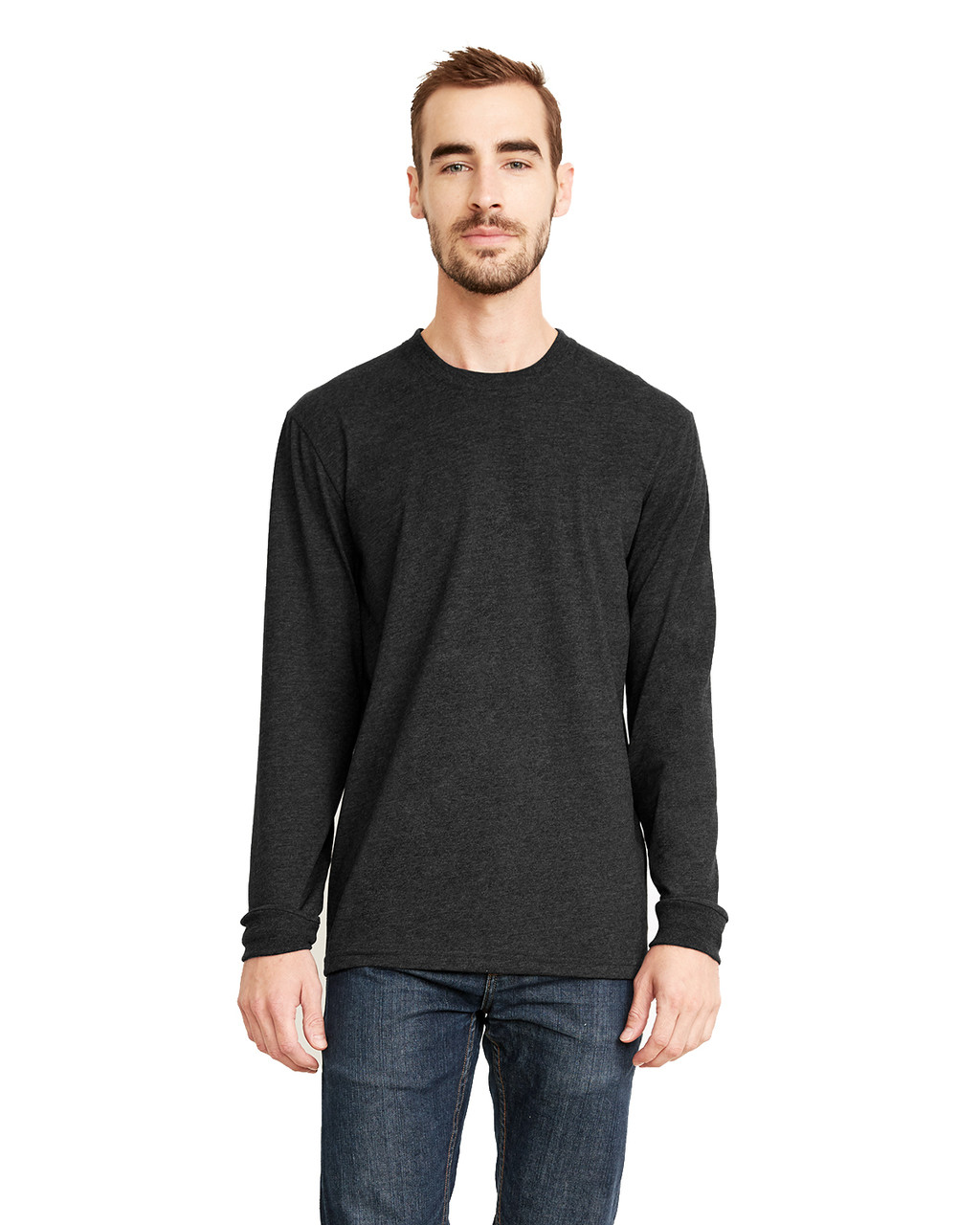 Black - 6411 Next Level Unisex Sueded Long-Sleeve Crew Shirt | Blankclothing.ca