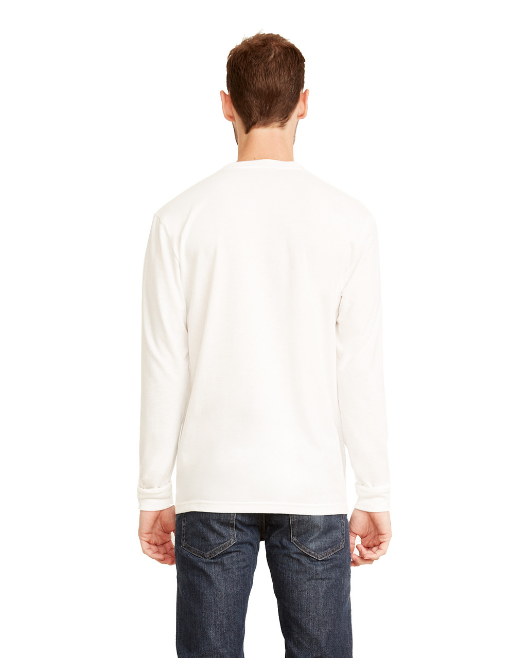 White, Back - 6411 Next Level Unisex Sueded Long-Sleeve Crew Shirt | Blankclothing.ca