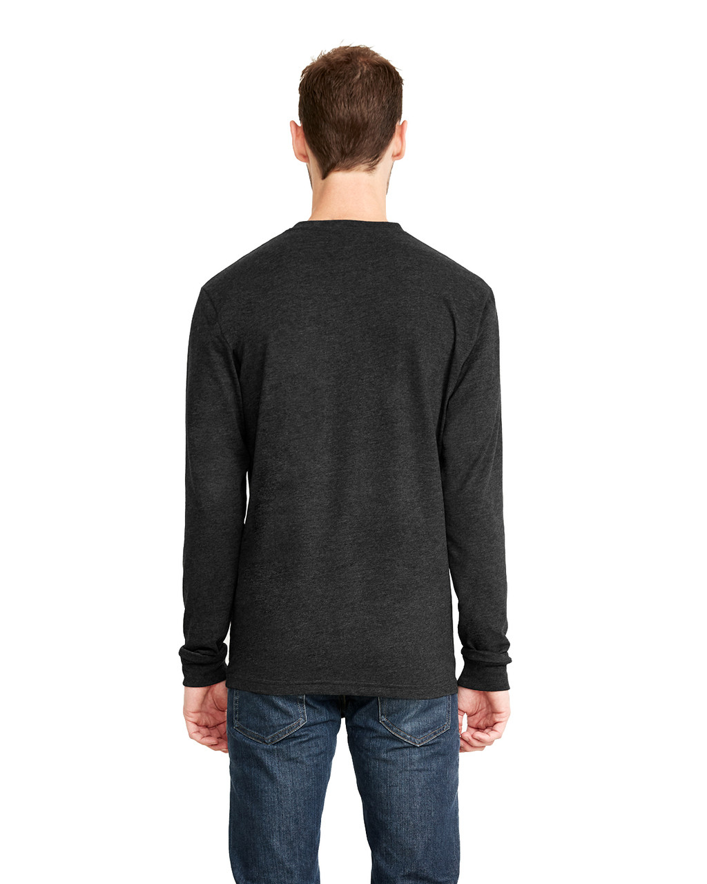 Black, Back - 6411 Next Level Unisex Sueded Long-Sleeve Crew Shirt | Blankclothing.ca
