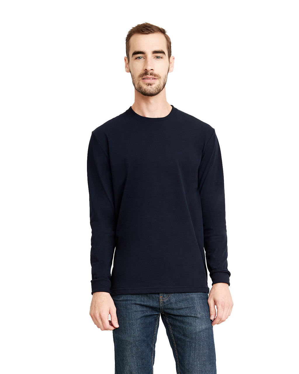 Midnight Navy - 6411 Next Level Unisex Sueded Long-Sleeve Crew Shirt | Blankclothing.ca