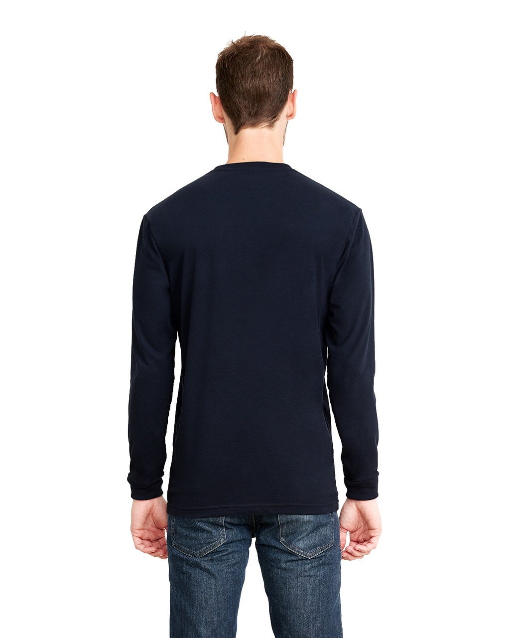 Midnight Navy, Back - 6411 Next Level Unisex Sueded Long-Sleeve Crew Shirt | Blankclothing.ca