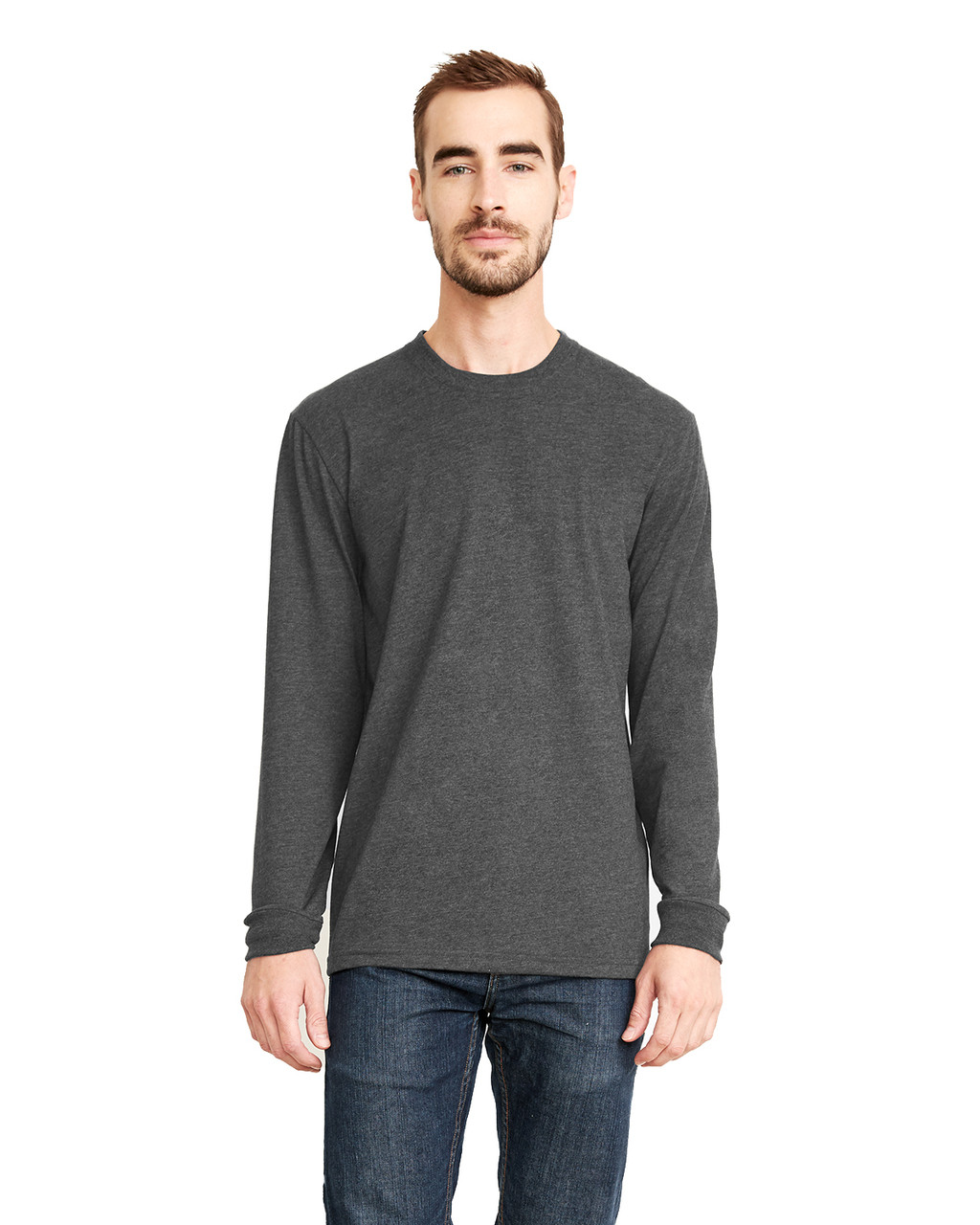 Heather Metal - 6411 Next Level Unisex Sueded Long-Sleeve Crew Shirt | Blankclothing.ca