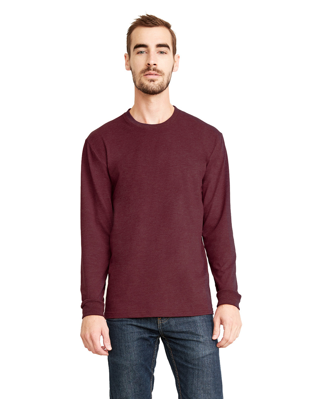Heather Maroon - 6411 Next Level Unisex Sueded Long-Sleeve Crew Shirt | Blankclothing.ca