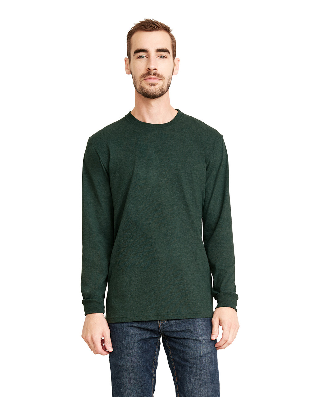 Heather Forest Green - 6411 Next Level Unisex Sueded Long-Sleeve Crew Shirt | Blankclothing.ca