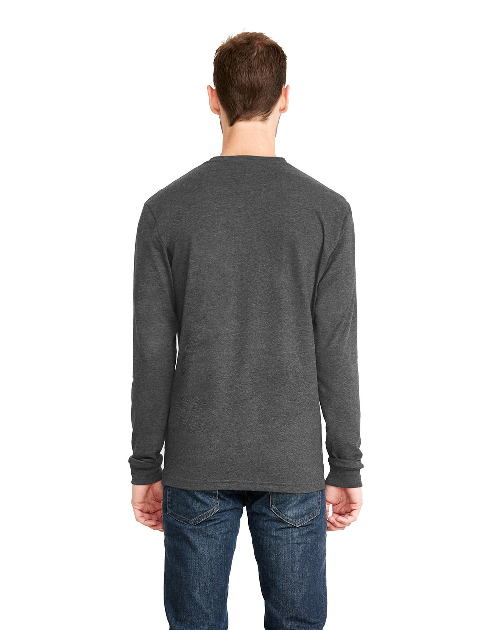 Heather Metal, Back - 6411 Next Level Unisex Sueded Long-Sleeve Crew Shirt | Blankclothing.ca