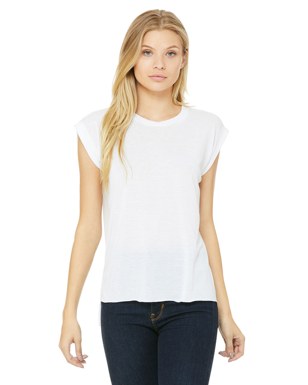 White - 8804 Bella+Canvas Ladies' Flowy Muscle T-Shirt with Rolled Cuff | Blankclothing.ca