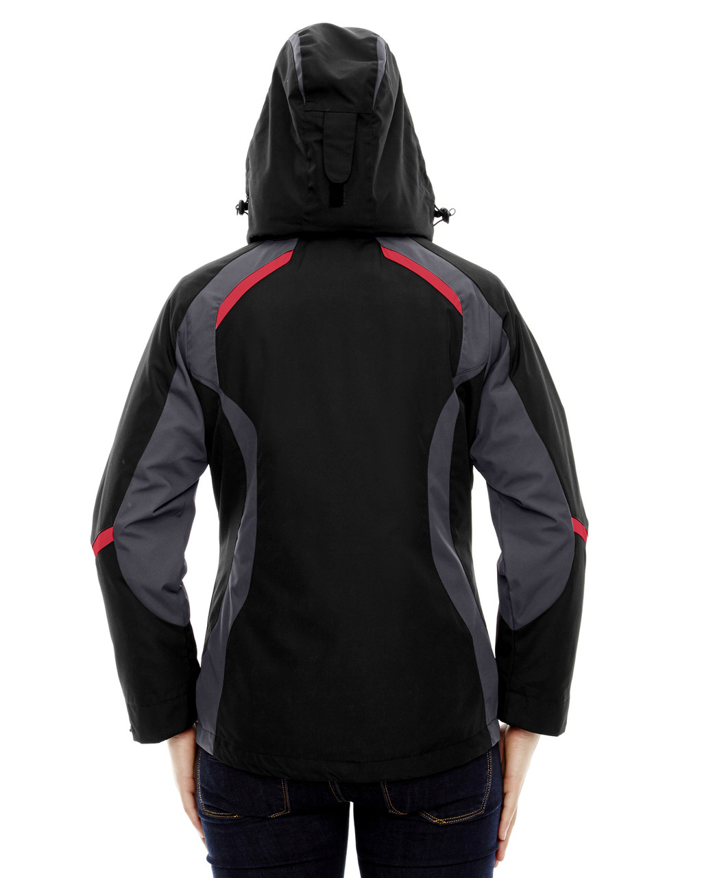 Black/Classic Red, Back - 78195 Ash City - North End Ladies' Height 3-in-1 Jacket with Insulated Liner | Blankclothing.ca