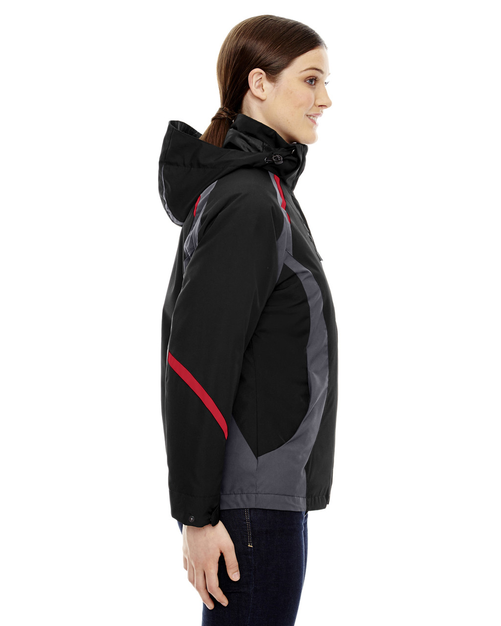 Black/Classic Red, Side - 78195 Ash City - North End Ladies' Height 3-in-1 Jacket with Insulated Liner | Blankclothing.ca