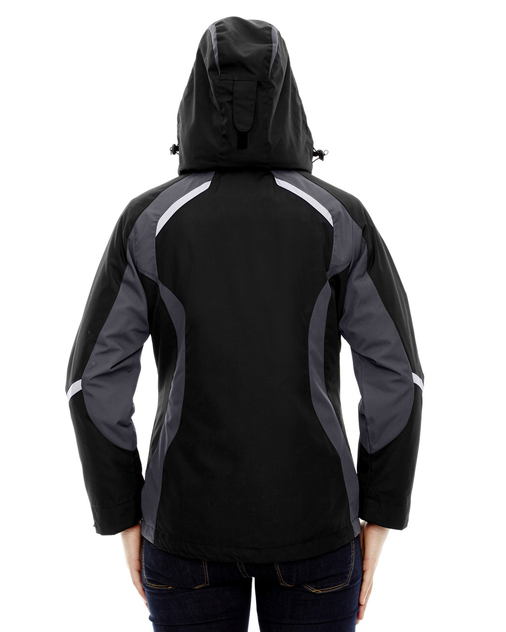 Black, Back - 78195 Ash City - North End Ladies' Height 3-in-1 Jacket with Insulated Liner | Blankclothing.ca