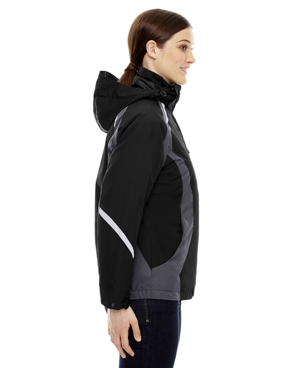 Black, Side - 78195 Ash City - North End Ladies' Height 3-in-1 Jacket with Insulated Liner | Blankclothing.ca
