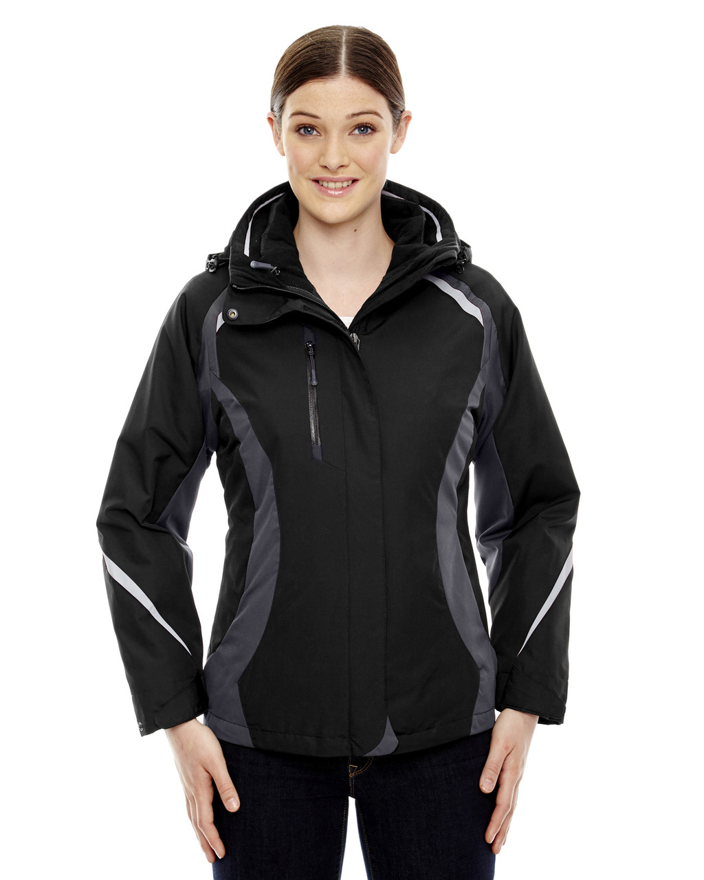 Black - 78195 Ash City - North End Ladies' Height 3-in-1 Jacket with Insulated Liner | Blankclothing.ca