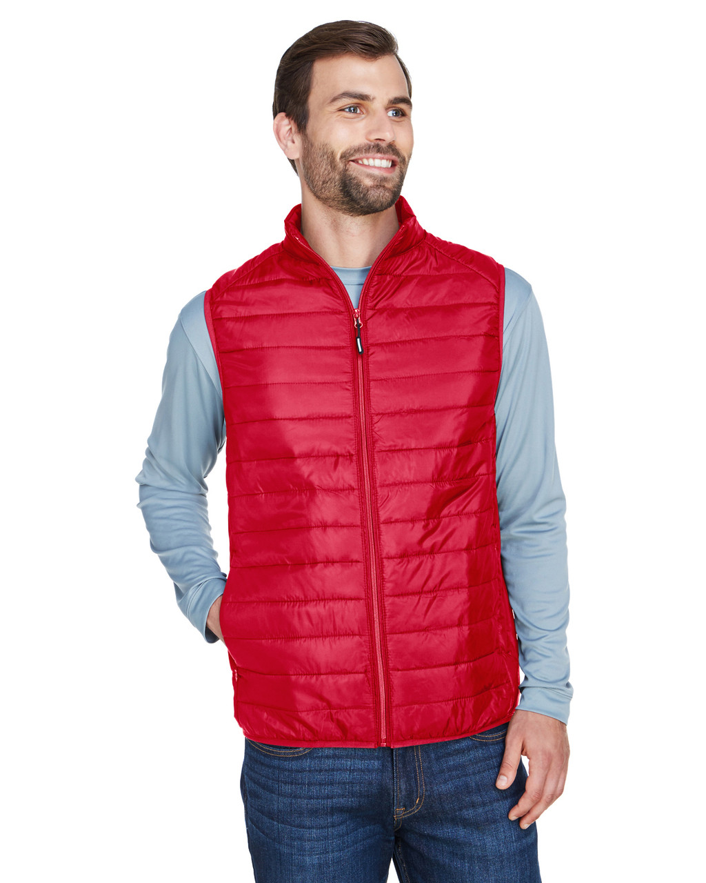 Classic Red - CE702 Ash City - Core 365 Men's Prevail Packable Puffer Vest | BlankClothing.ca