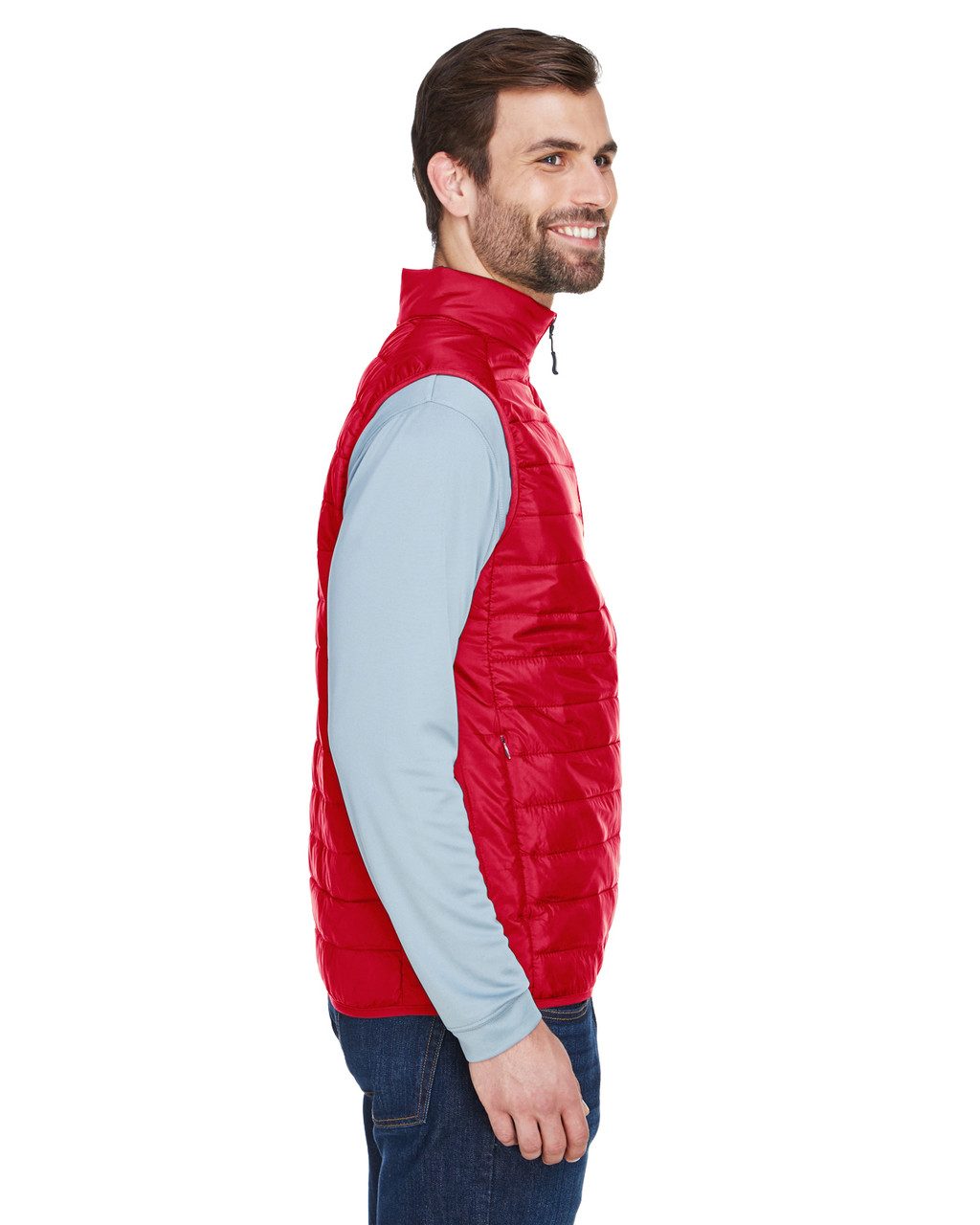 Classic Red, Side - CE702 Ash City - Core 365 Men's Prevail Packable Puffer Vest | BlankClothing.ca