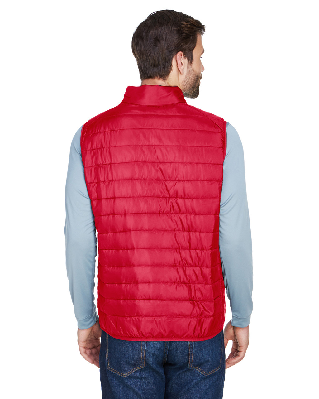 Classic Red, Back - CE702 Ash City - Core 365 Men's Prevail Packable Puffer Vest | BlankClothing.ca