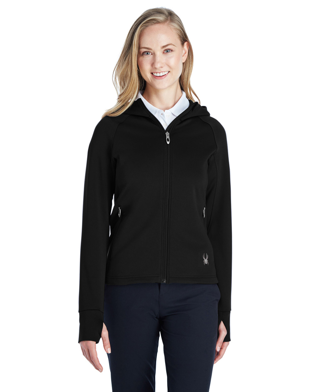 Black/Grey - 187331 Spyder Ladies' Hayer Full-Zip Z Hooded Fleece Jacket | BlankClothing.ca