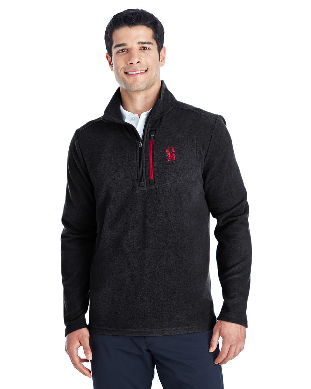 Black/Red -  187332 Spyder Men's Transport Quarter-Zip Fleece Pullover | BlankClothing.ca