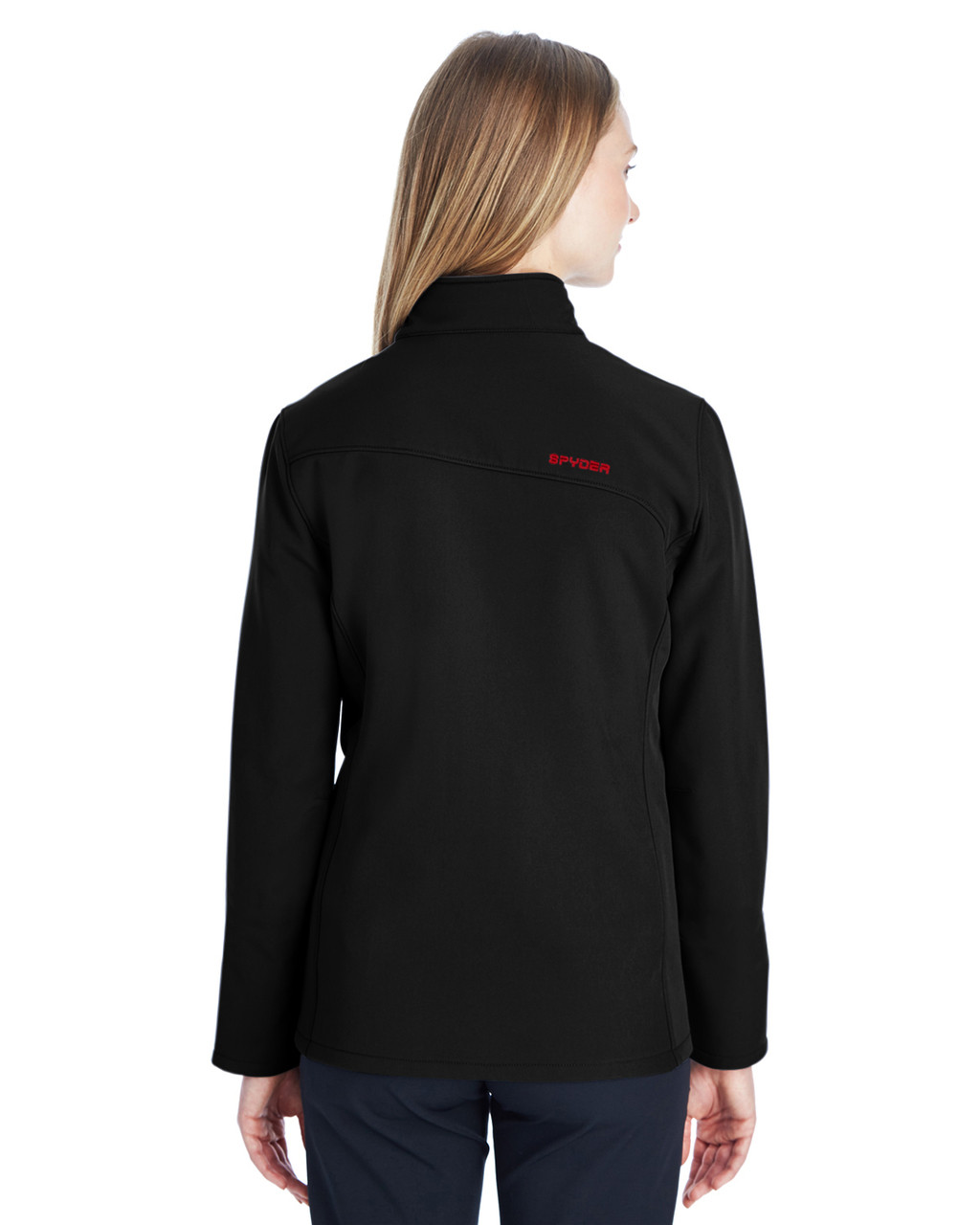 Black/Red, Back - 187337 Spyder Ladies' Transport Softshell Jacket | BlankClothing.ca