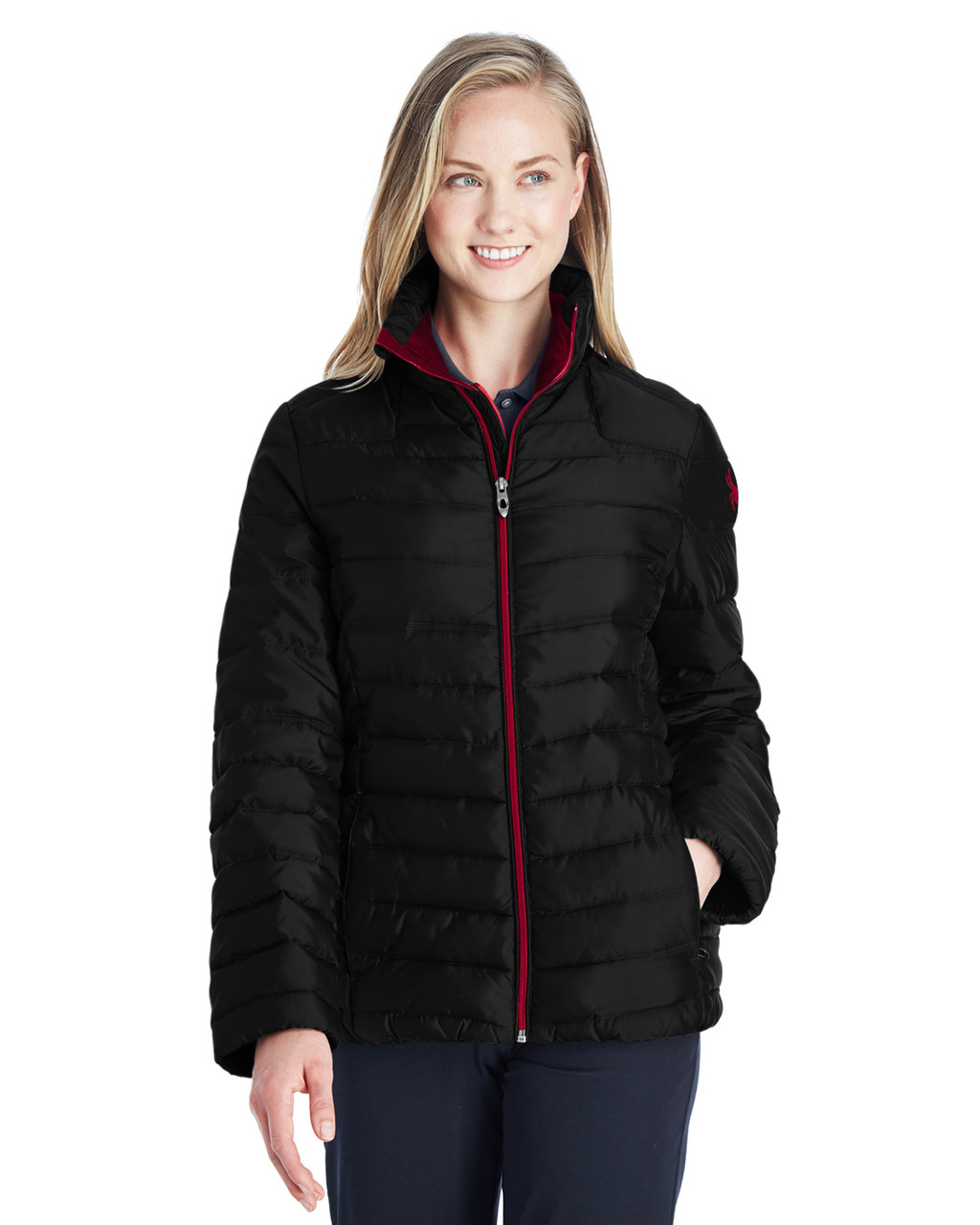 Black/Red - 187336 Spyder Ladies' Supreme Insulated Puffer Jacket | BlankClothing.ca