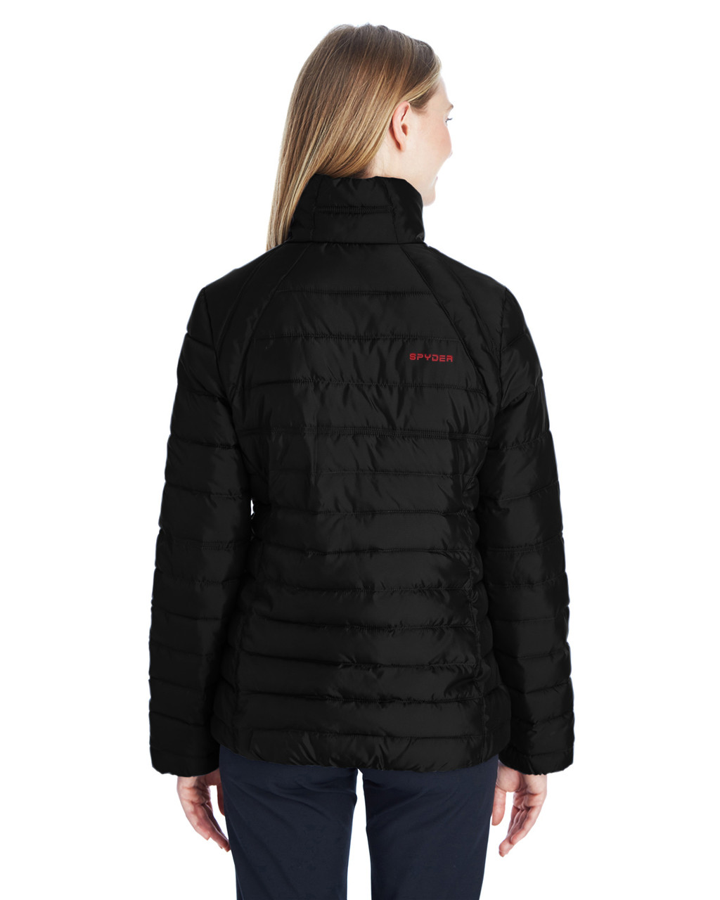 Black/Red, Back - 187336 Spyder Ladies' Supreme Insulated Puffer Jacket | BlankClothing.ca
