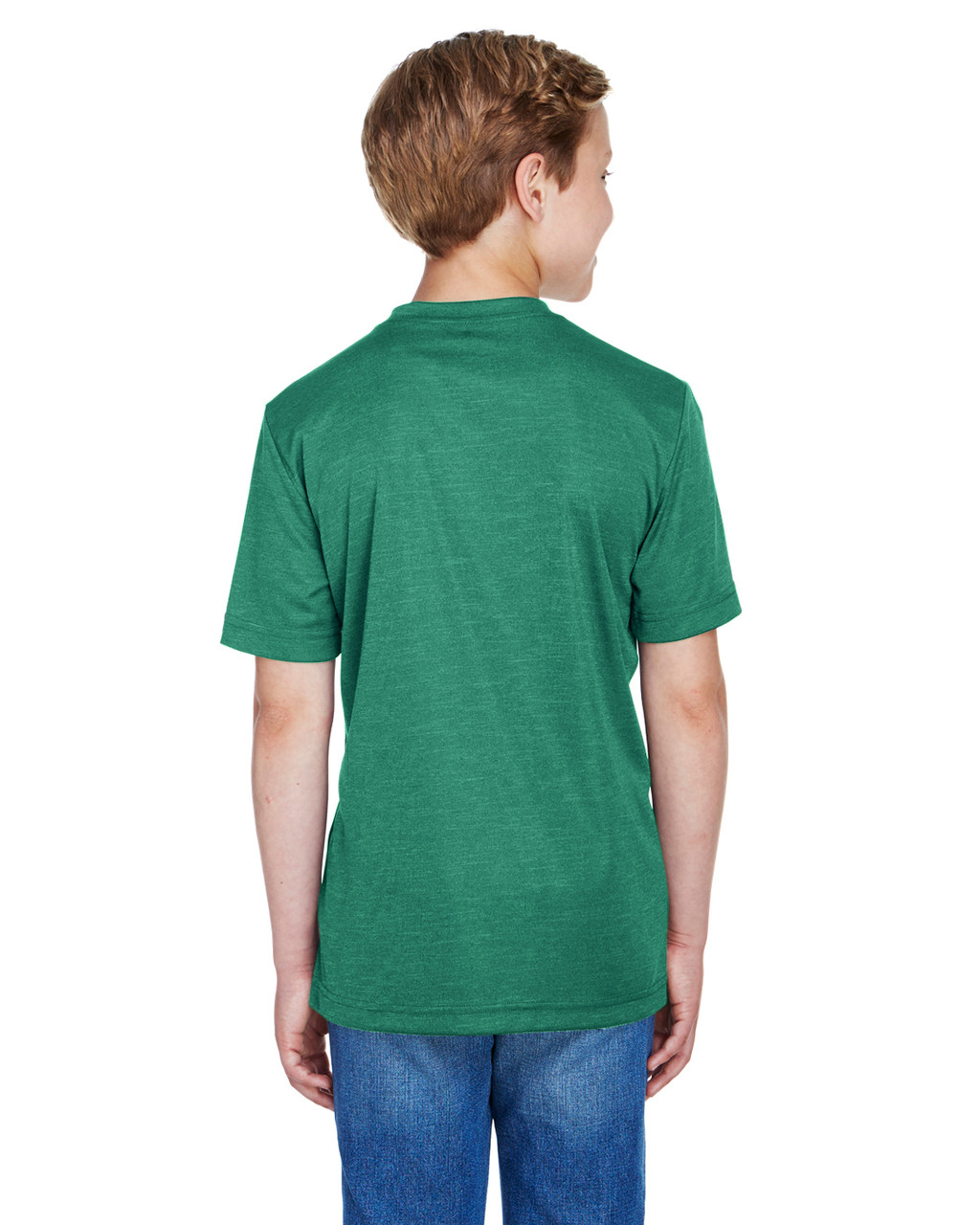 Sport Forest Heather - Back, TT11HY Team 365 Youth Sonic Heather Performance T-Shirt | BlankClothing.ca