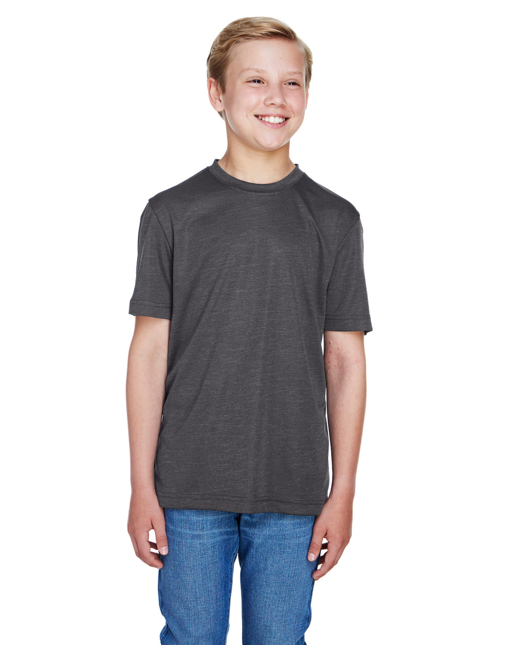 Dark Grey Heather - TT11HY Team 365 Youth Sonic Heather Performance T-Shirt | BlankClothing.ca