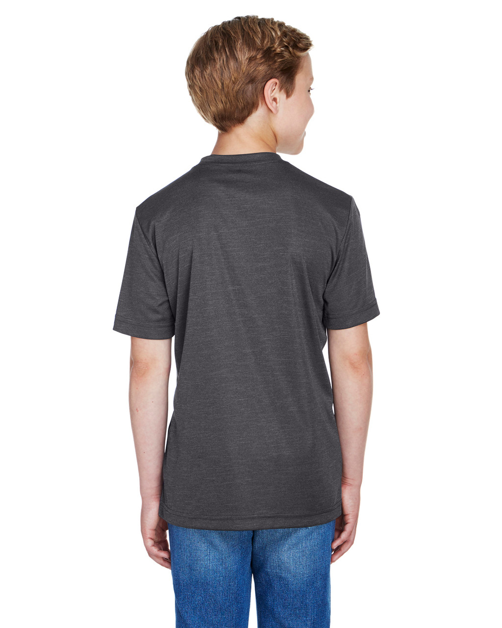 Dark Grey Heather - Back, TT11HY Team 365 Youth Sonic Heather Performance T-Shirt | BlankClothing.ca