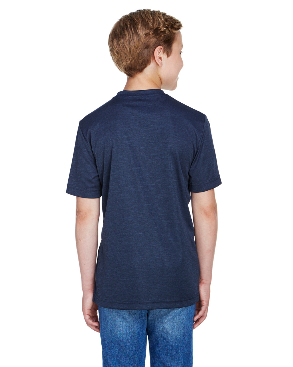 Sport Dark Navy Heather - Back, TT11HY Team 365 Youth Sonic Heather Performance T-Shirt | BlankClothing.ca