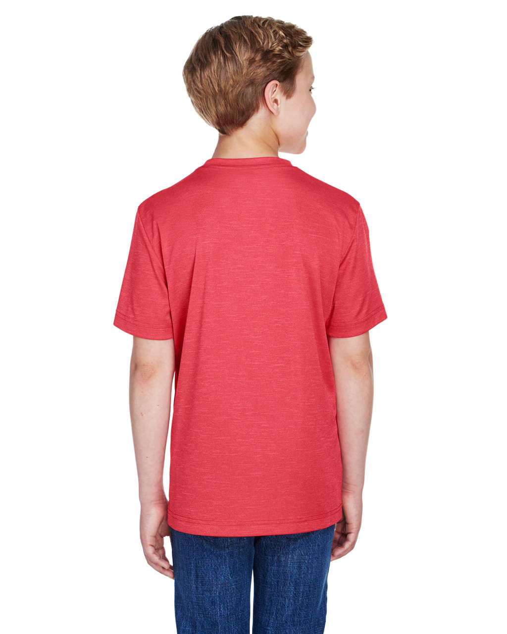 Sport Red Heather - Back, TT11HY Team 365 Youth Sonic Heather Performance T-Shirt | BlankClothing.ca