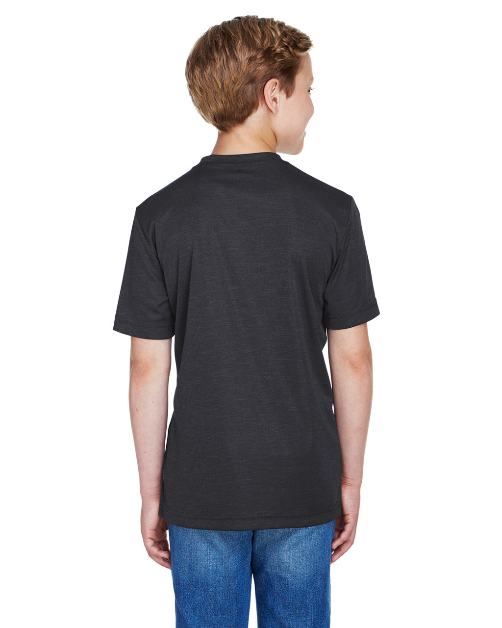 Black Heather - Back, TT11HY Team 365 Youth Sonic Heather Performance T-Shirt | BlankClothing.ca