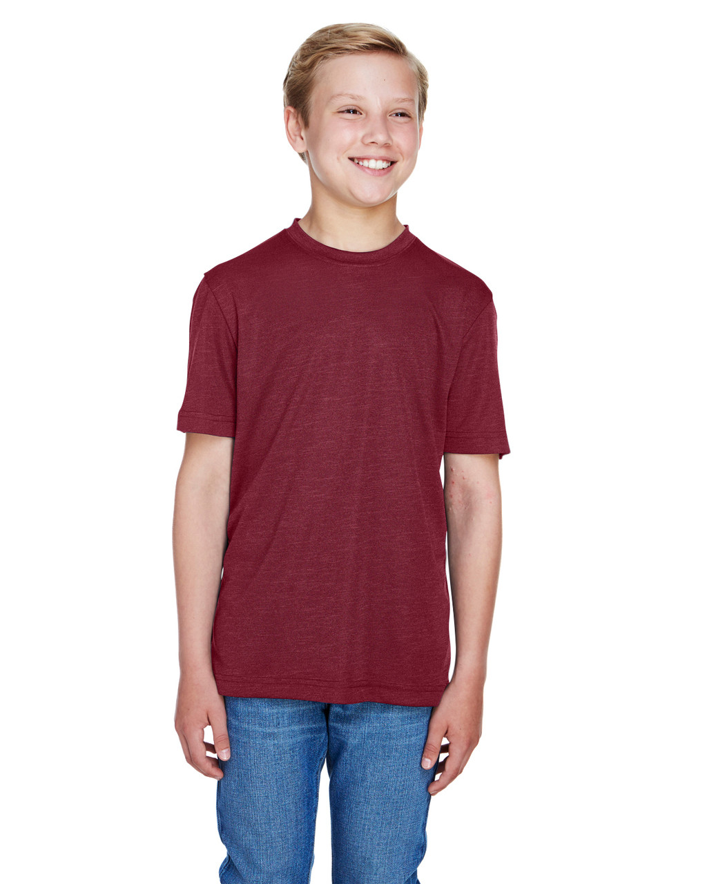 Sport Maroon Heather - TT11HY Team 365 Youth Sonic Heather Performance T-Shirt | BlankClothing.ca