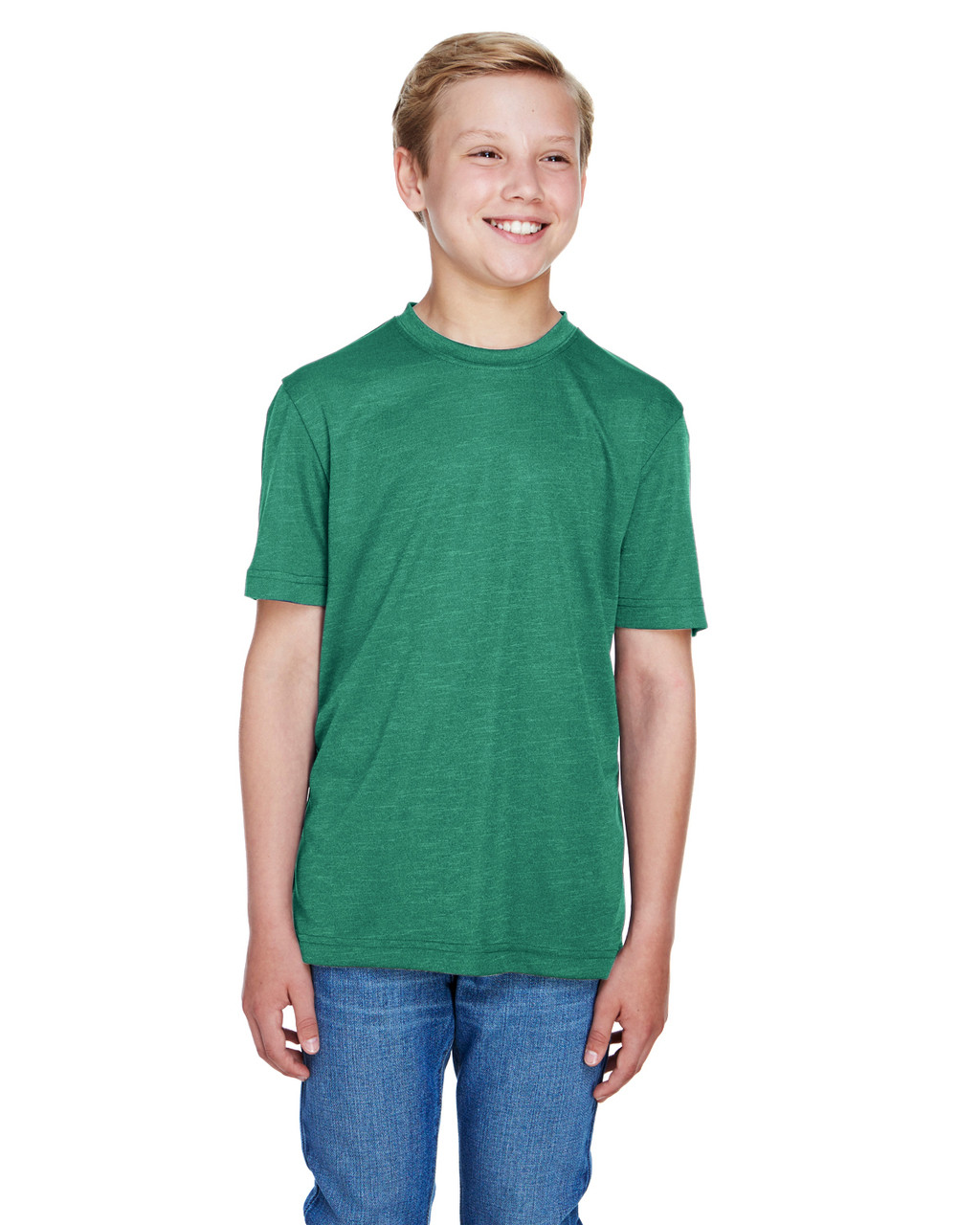 Sport Forest Heather - TT11HY Team 365 Youth Sonic Heather Performance T-Shirt | BlankClothing.ca
