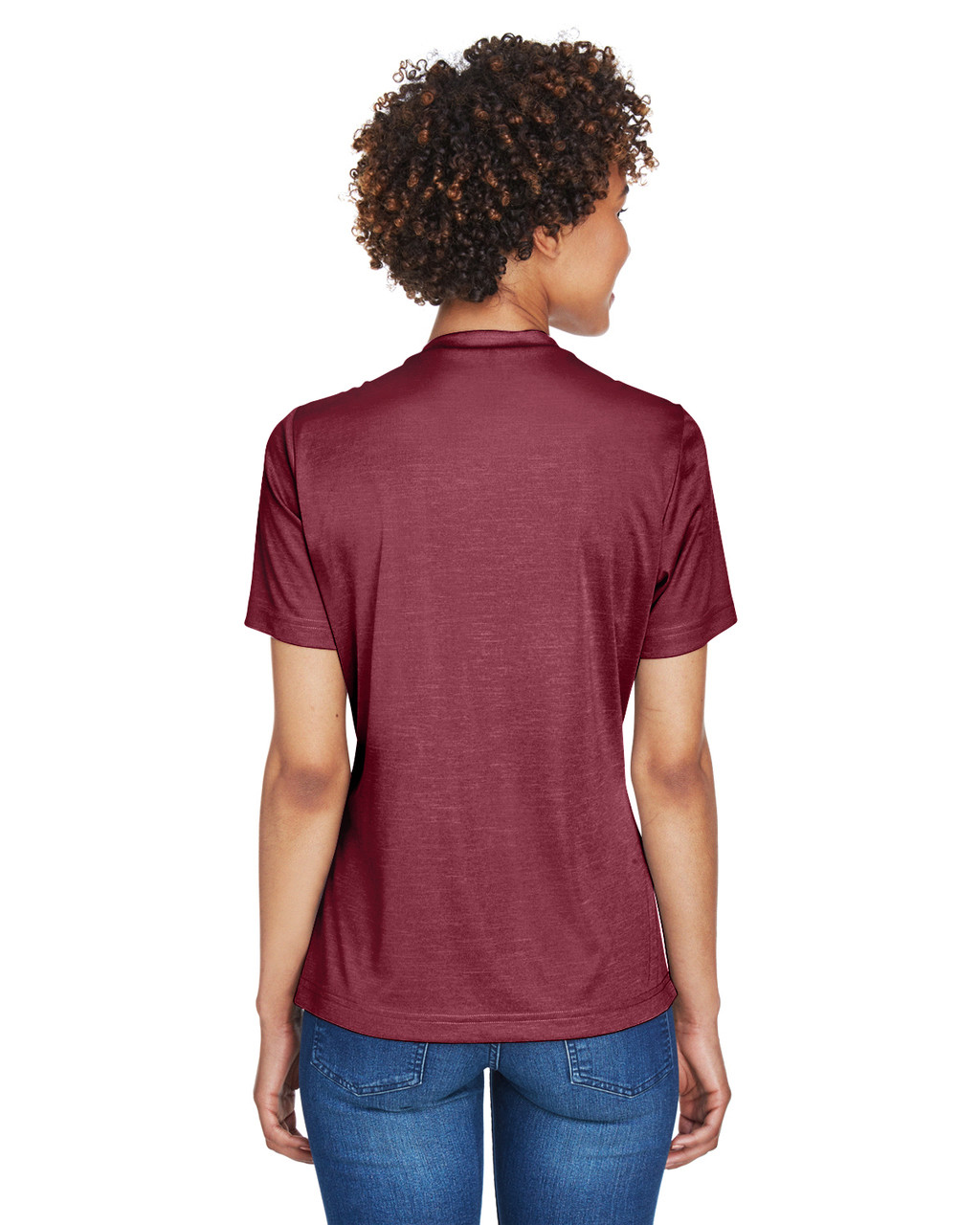 Sport Maroon Heather - Back, TT11HW Team 365 Ladies' Sonic Heather Performance T-Shirt | BlankClothing.ca