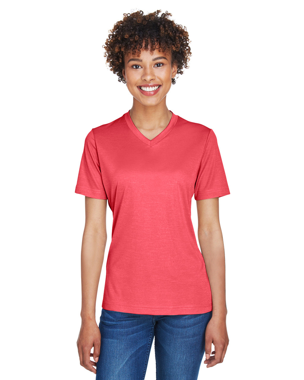 Sport Red Heather - TT11HW Team 365 Ladies' Sonic Heather Performance T-Shirt | BlankClothing.ca