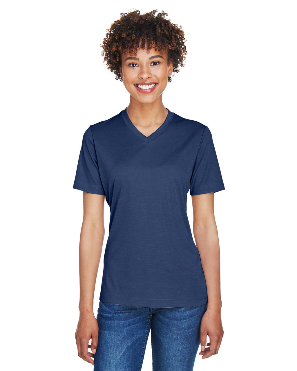 Sport Dark Navy Heather - TT11HW Team 365 Ladies' Sonic Heather Performance T-Shirt | BlankClothing.ca