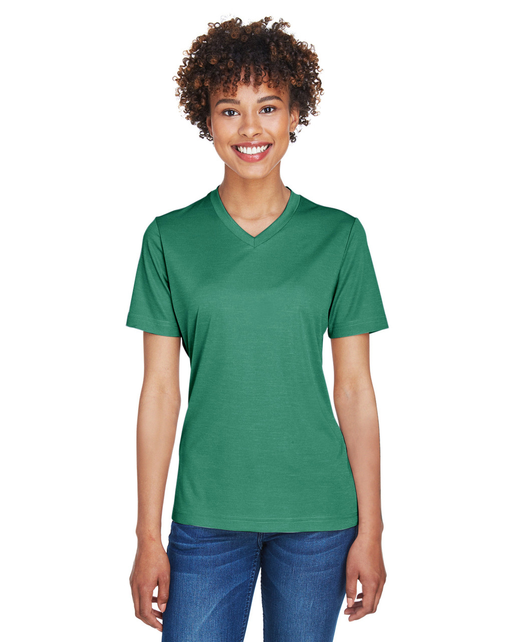 Sport Forest Heather - TT11HW Team 365 Ladies' Sonic Heather Performance T-Shirt | BlankClothing.ca